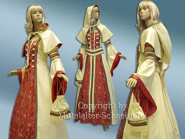Mittellater Hochzeitskleid mit Gugel, Armmanschetten und Y-gürtel